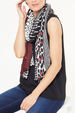 Akel Leopard and Patch Work Look Scarf