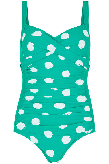 Spot Ruched Panel Swimsuit