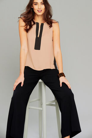 Salvari Two Tone Sleeveless Blouse