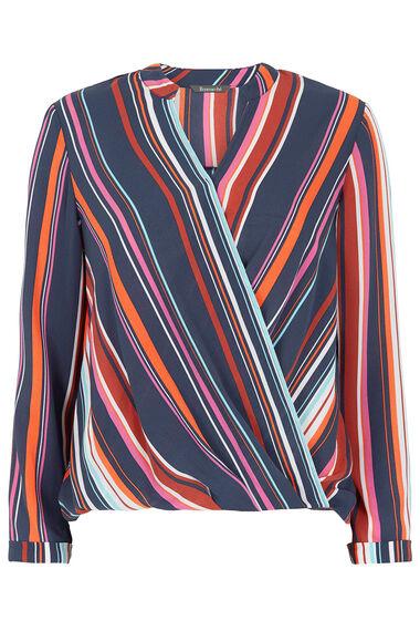 Wrap Effect Stripe Blouse
