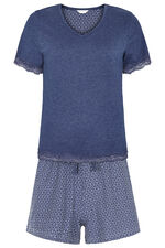 Geo Lace Trim Pyjama Short Set
