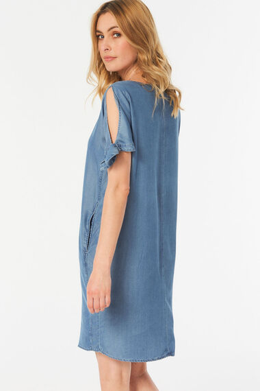 Bow Sleeve Tencel Dress