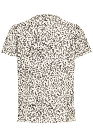 Spot Print Short Sleeve Blouse With Metal Trim