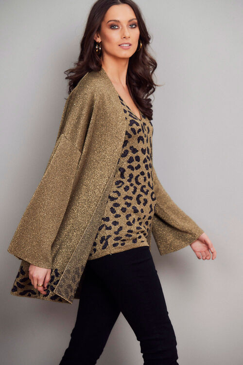 Join Us Leopard Trim Shimmer Cardigan