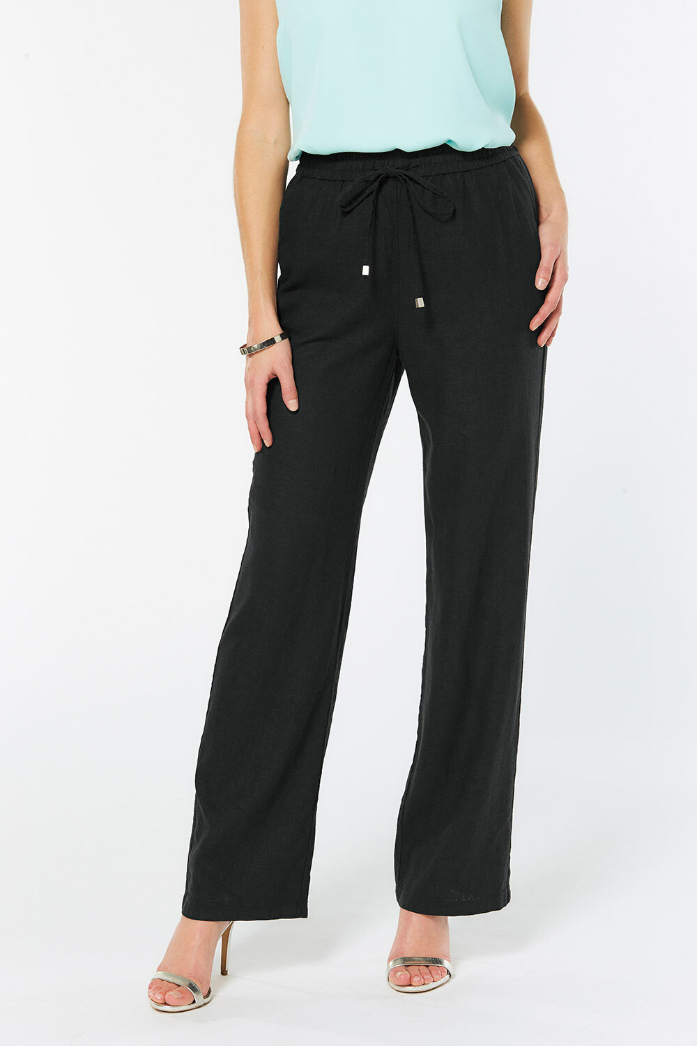 Hosen Damenmode M&s Collection Womens Trousers Navy Pin Striped Wide Leg Cropped Size 8 New