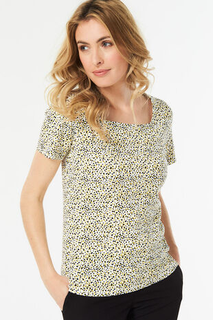 Animal Spot Print Square Neck T-Shirt