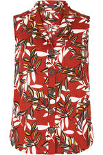 Sleeveless Amazon Print Linen Blend Shirt