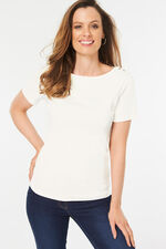 Boat Neck Plain T-Shirt