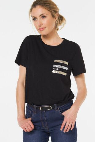 Sequin Pocket T-Shirt