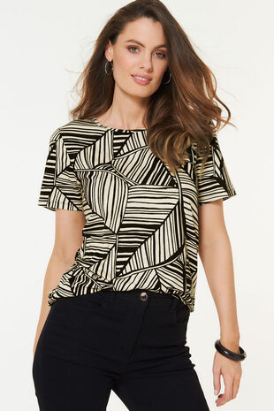 Linear Leaf Print T-Shirt