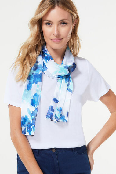 Large Scale Floral Chiffon Scarf