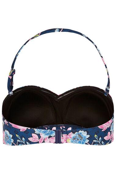 Navy Floral Print Twist Bikini Top