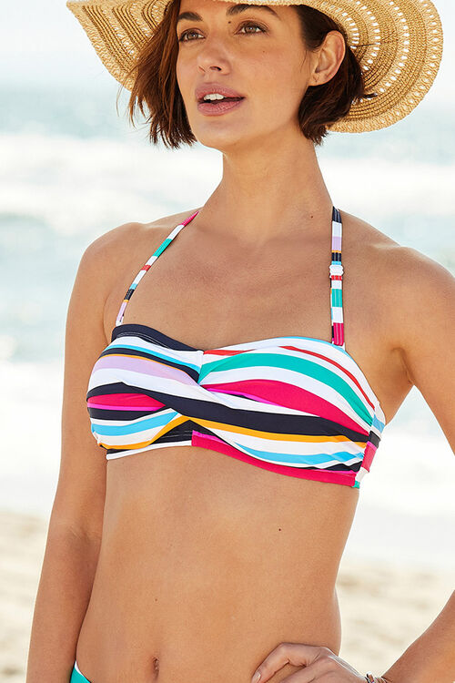 Twist Stripe Front Bikini Top