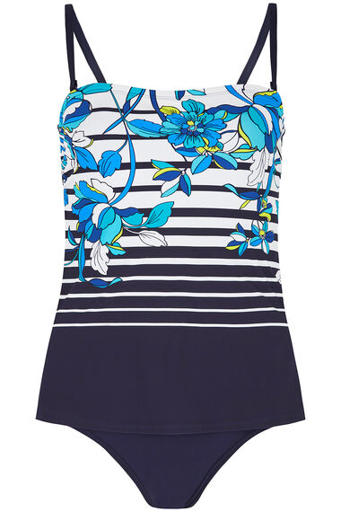 Floral Stripe Tankini Swimsuit