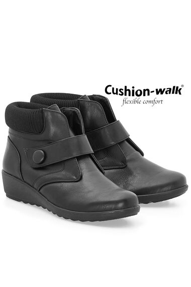 Cushion Walk Touch Fasten Ankle Boot with Knitted Cuff