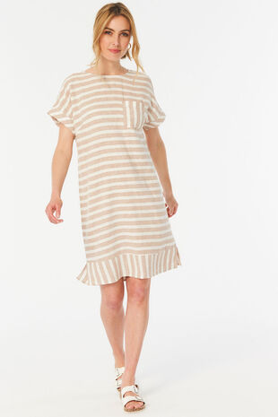 Short Sleeve Stripe Print Linen Blend Dress