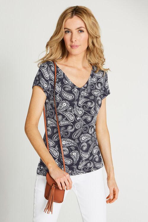 Paisley Print V Neck Short Sleeve Top