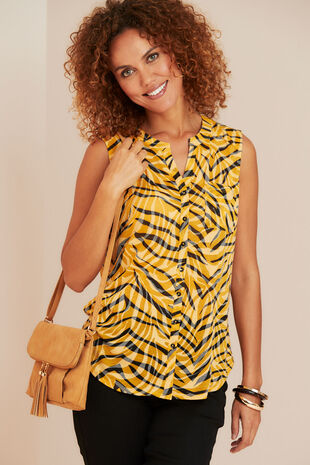 Animal Print Sleeveless Shirt