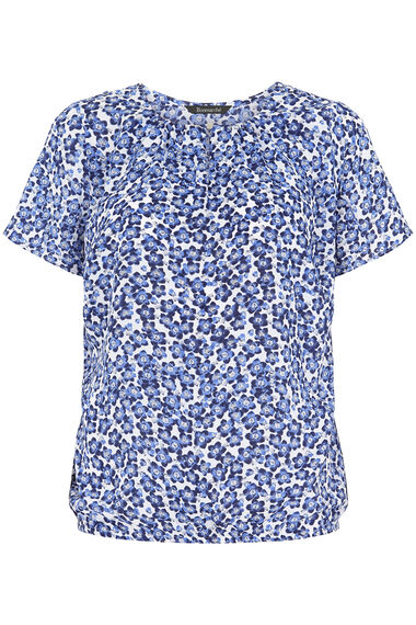 Ditsy Floral Keyhole Blouse With Button Detail