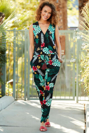 Isla & Rose Sleeveless Tropical Print Jumpsuit
