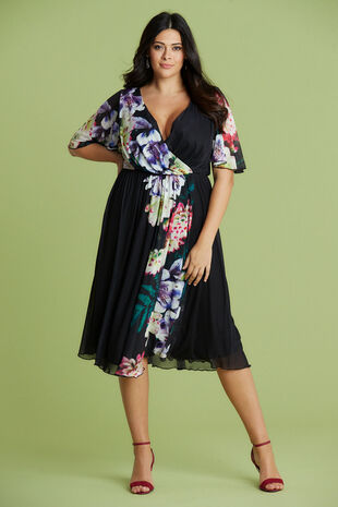 Scarlett & Jo Tropical Boarder Print Dress