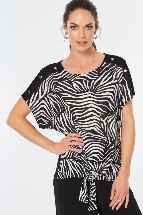 Zebra Print Tie Front Top
