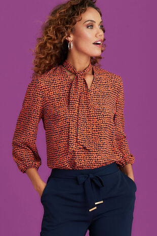 Neck Tie Printed Blouse