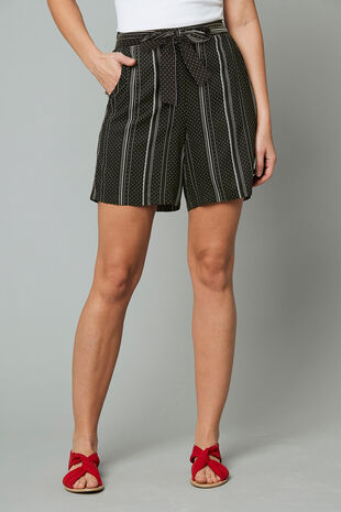 Dotted Stripe Belted Viscose Short