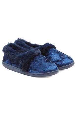 Velvet Fur Trim Slipper