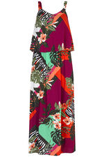 Tropical Patchwork Double Layer Maxi Dress