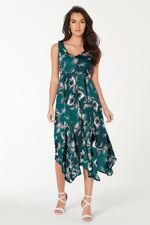 V Neckline Hanky Hem Dress