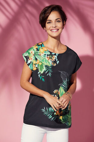 Tropical Print Woven Front T-Shirt