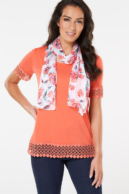 Orange Poppy Printed Chiffon Scarf