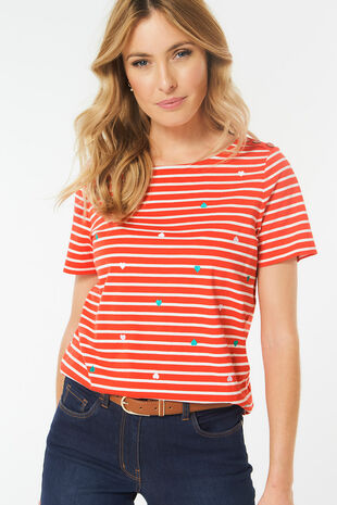 c0b7b4c3401bf Embroidered Heart Stripe T-Shirt