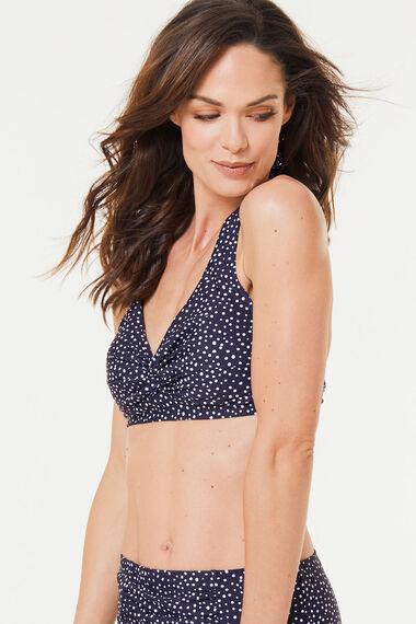 Spot Knot Front Halterneck Bikini Top