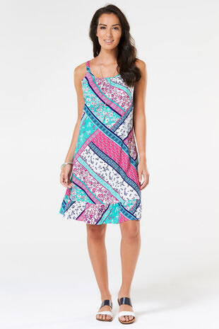 Patchwork Print Beach Dress with Frill Hem