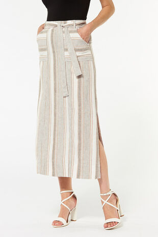 Stripe Linen Maxi Skirt