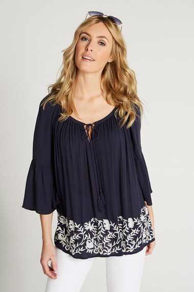 Embroidered Hem Gypsy Top