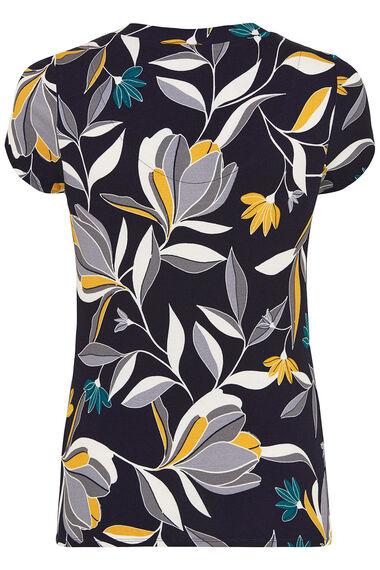 Graphic Floral Print Scoop Neck Top