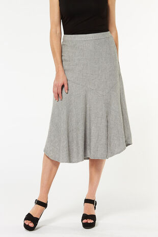 Grey Textured Linen Blend Skirt