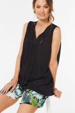 Embroidered Vest Top With Mirrors