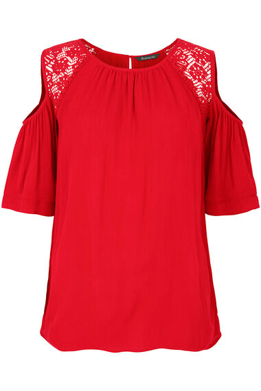 Plain Cold Shoulder Top with Lace Trim