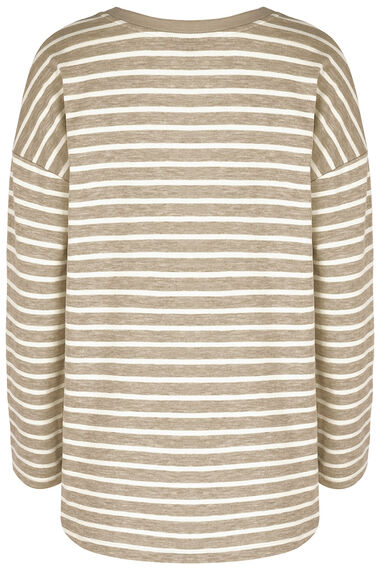Stripe Curve Hem Sweat