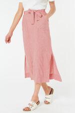 Tie Belt Linen Blend Skirt