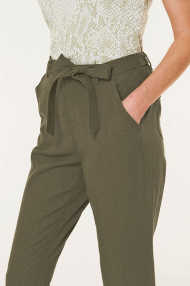 Tapered Linen Blend Trouser