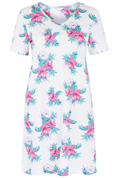 Short Sleeve Floral Print Nightshirt