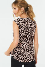 Animal Print Tie Front Sleeveless Top