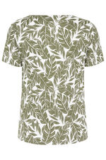 Notch Neck Palm Print T-Shirt