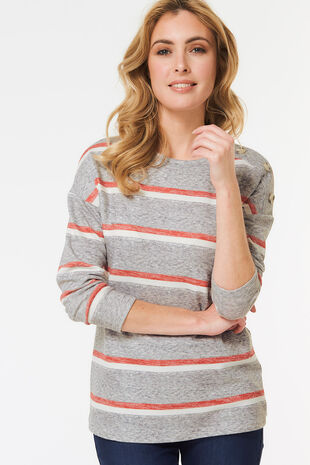Stripe Button Boxy Top