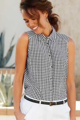 Sleeveless Gingham Shirt